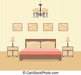 appartamento, stile, immagine, nightstands, includere, letto, frames., disegno, camera letto, interno, lampade, tavola