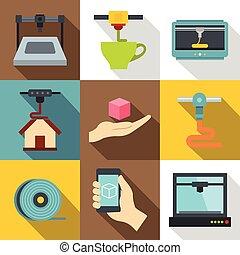 appartamento, stile, industriale, icone, set, stampante, 3d