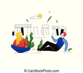 appartamento, stile, inghilterra, colorito, visita, -, illustrazione, disegno