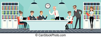 appartamento, stile, lavorando ufficio, persone, affari illustrazione, vettore, riunione