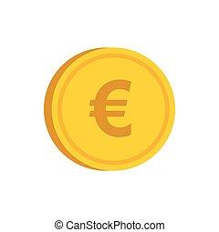 appartamento, stile, oro, segno, icona, moneta, euro