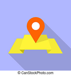 appartamento, stile, perno, mappa, giallo, icona, rosso