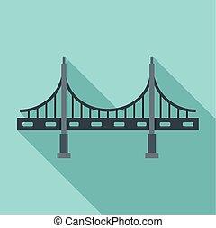 appartamento, stile, ponte, grande, metallo, icona