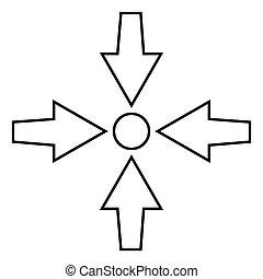 appartamento, stile, punto, immagine colore, mostra, frecce, illustrazione, quattro, semplice, nero, puntino, icona