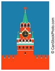 appartamento, stile, quadrato, card., spasskaya, punto di riferimento, nazionale, ob, mosca, greetng, mosca, russo, fondo., torre, russia., bianco, cremlino, rosso