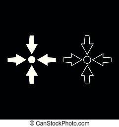 appartamento, stile, set, mostra, immagine colore, punto, frecce, illustrazione, quattro, semplice, puntino bianco, icona