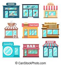 appartamento, stile, set, negozi, icone, disegno, negozi