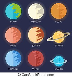 appartamento, stile, set, pianeti, sistema, solare, cartone animato