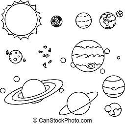 appartamento, stile, set, pianeti, sistema, solare
