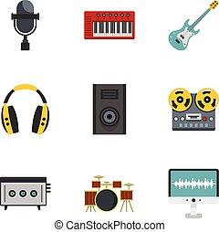 appartamento, stile, set, roba, musica, icona