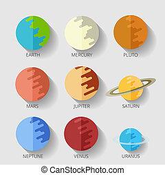 appartamento, stile, set, solare, raster, system., pianeti, copia, cartone animato, icona