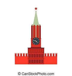 appartamento, stile, spasskaya, mosca, icona, torre, cremlino