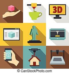 appartamento, stile, stampante, icone, set, 3d