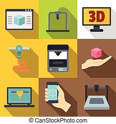 appartamento, stile, stampante, lavorativo, icone, set, 3d