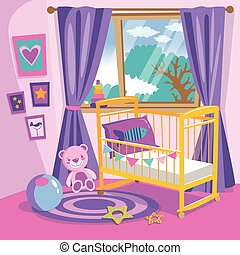 appartamento, stile, vettore, illustration., furniture., pink., interior., ragazze, vivaio, camera letto, bambino, cartone animato, stanza