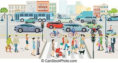 appartamento, strada, pedoni, traffico città, sidewalk.eps, costruzioni