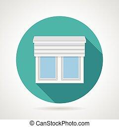 appartamento, su, finestra, vettore, otturatori, icona