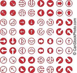 appartamento, symbols., geometrico, simplistic, set, frecce, icone, collezione, semplice, vettore, web, digitale, 8, pezzo, pixel, signs.