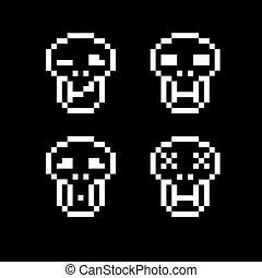 appartamento, symbols., pezzo, web, icone semplici, collezione, crani, vettore, digitale, 8, geometrico, pixel, signs.