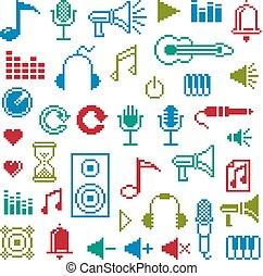 appartamento, symbols., pezzo, web, icone semplici, collezione, musicale, vettore, digitale, 8, geometrico, pixel, signs.