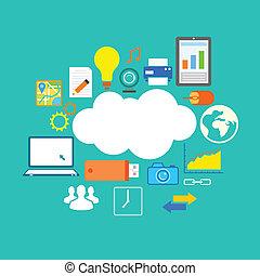 appartamento, tecnologia, disegno, nuvola, calcolare