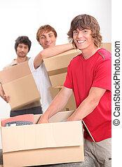 appartamento, trio, compagni, spostamento, insieme