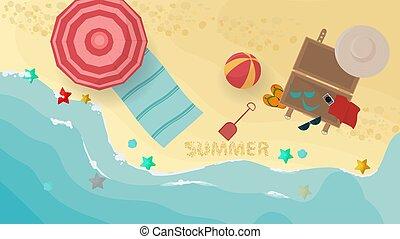 appartamento, turista, cose, stuoia, bandiera, mare, disegno panorama, illustrazione, riva, vettore, vacanza, ombrello, estate, valigia, spiaggia, ombra
