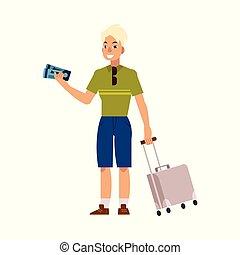 appartamento, turista, viaggiare borsa, vettore, valigia, uomo