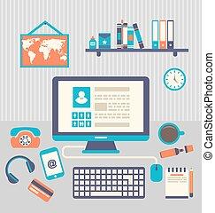 appartamento, ufficio, moderno, creativo, computer, disegno, workspace