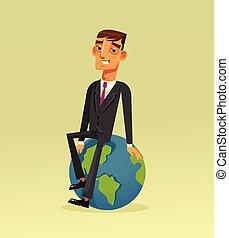 appartamento, ufficio, seduta, riuscito, carattere, lavoratore, illustrazione, pianeta, vettore, uomo affari, sorridente, earth., cartone animato, felice