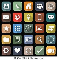 appartamento, uggia, contatto, lungo, icone