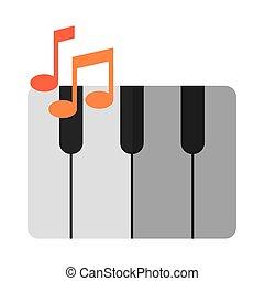 appartamento, uggia, pianoforte, strumento, icona, musicale, tastiera