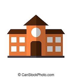 appartamento, uggia, scuola, costruzione, icona, educazione
