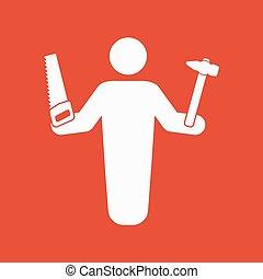 appartamento, uomo tuttofare, costruttore, carpentiere, simbolo., avatar, artigiano, icon.