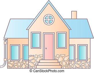 appartamento, utile, illustration., web, casa, suburbano, houses., isolato, anche, americano, vettore, disegno, white., domanda, icona, infographics., interfaccia
