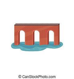 appartamento, vecchio, mobile, arco, theme., elemento, gioco, vettore, architettura, costruzione, bridge., mattone, transportation.