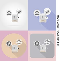 appartamento, vecchio, proiettore, icone, vendemmia, illustrazione, vettore, retro