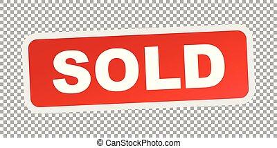 appartamento, venduto, stamp., vettore, rosso, icona