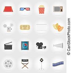 appartamento, vettore, cinema, illustrazione, icone