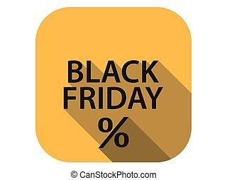 appartamento, vettore, lungo, icona, illustrazione, vendita, percento, discount., shadow., nero, venerdì