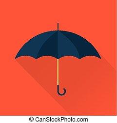appartamento, vettore, ombrello, icona
