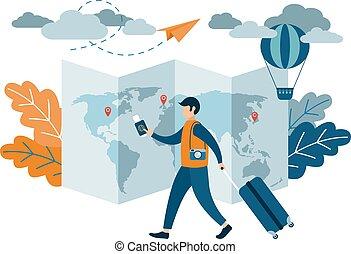 appartamento, vettore, presa a terra, persone, tickets., linea aerea, passaporto, valigia, design., illustration., uomo, viaggiare