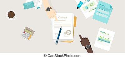 appartamento, vettore, quantità affari, persone, accordo, illustrazione, mano, penna, carta, contratto, scrivania, segno, due