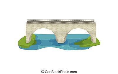 appartamento, vettore, trasporto, bridge., grande, river., costruzione, disegno, passerella, footbridge., mattone, arco, attraverso