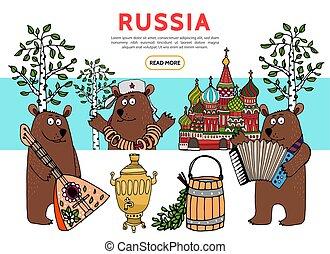 appartamento, viaggiare, russia, sagoma