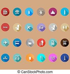 appartamento, viaggiare, set, style., icone