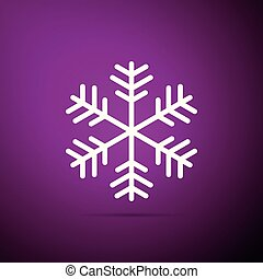 appartamento, viola, isolato, illustrazione, fondo., vettore, icona, fiocco di neve, design.