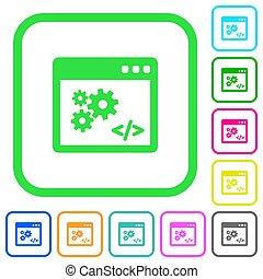 appartamento, vivido, icone, programmazione, domanda, interfaccia, colorato