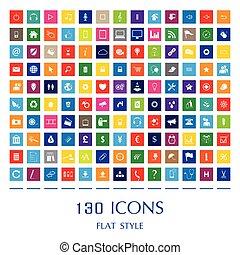 appartamento, web, 130, icons., stile