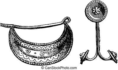 appartenere, clip, orecchino, louvre, museum., collezione, greco, campana